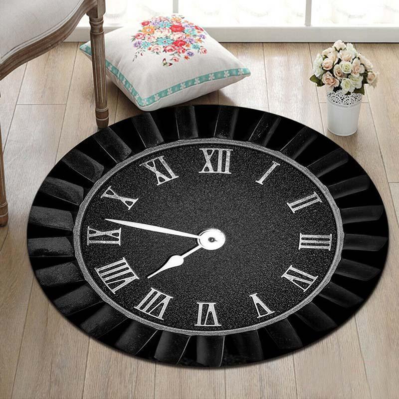 Runder Teppich <br> Römische Uhr