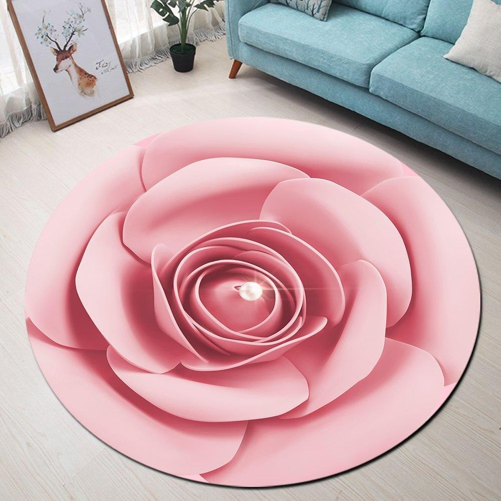 Runder Teppich <br> Rosa Blume