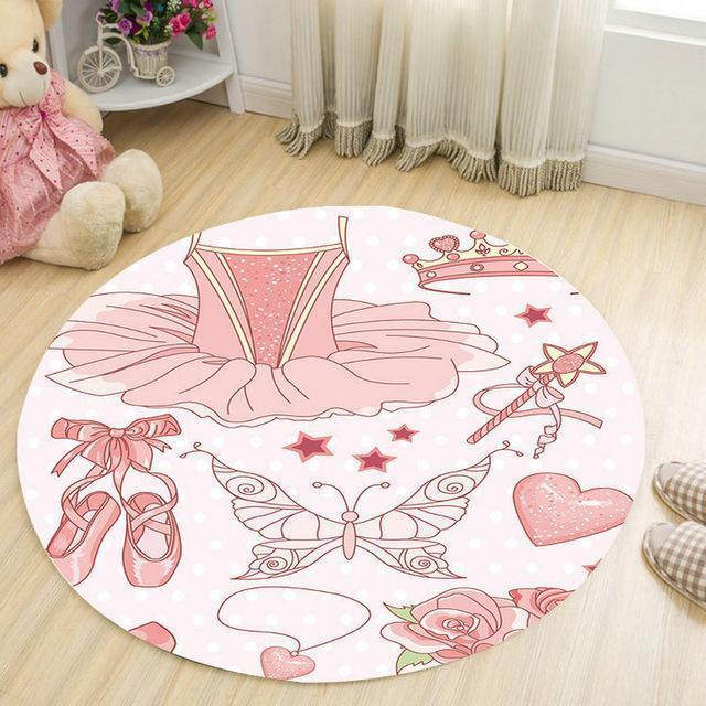 Runder Teppich <br> Rosa Mädchen