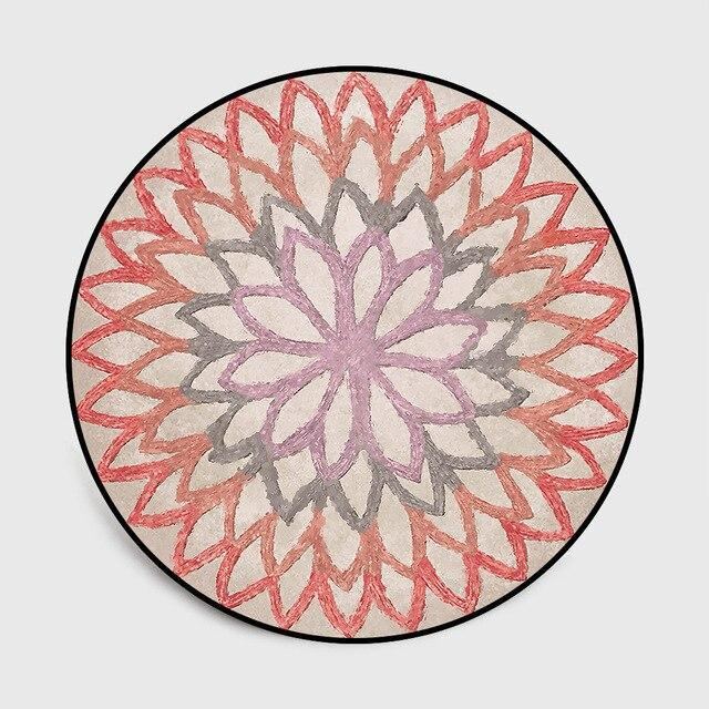 Runder Teppich  <br> Rote Rosette
