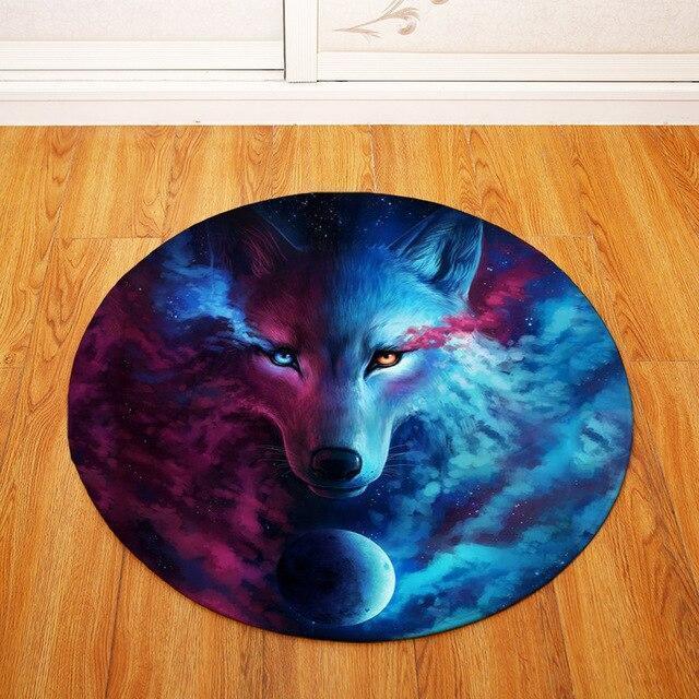 Runder Teppich <br> Roter und Blauer Wolf