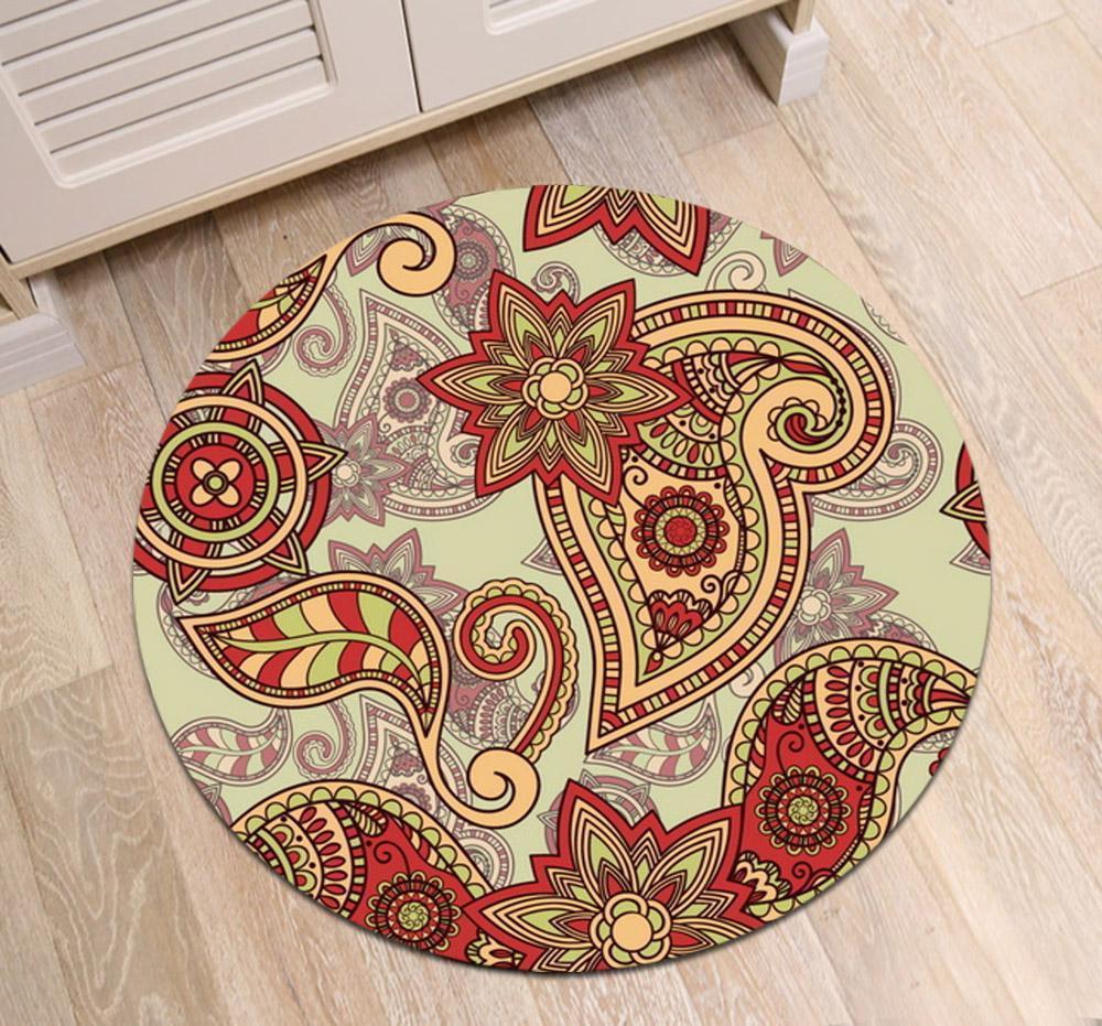 Runder Teppich <br> Rotes Mandala