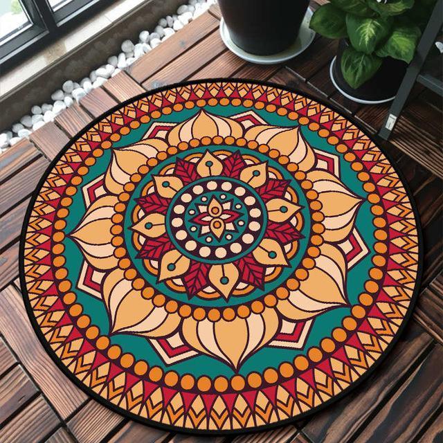 Runder Teppich <br> Rotes und Oranges Mandala