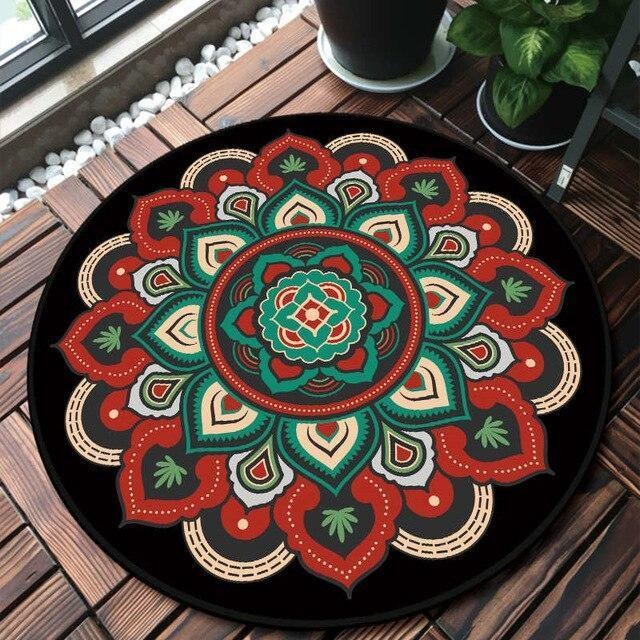 Runder Teppich <br> Rotes und Schwarzes Mandala