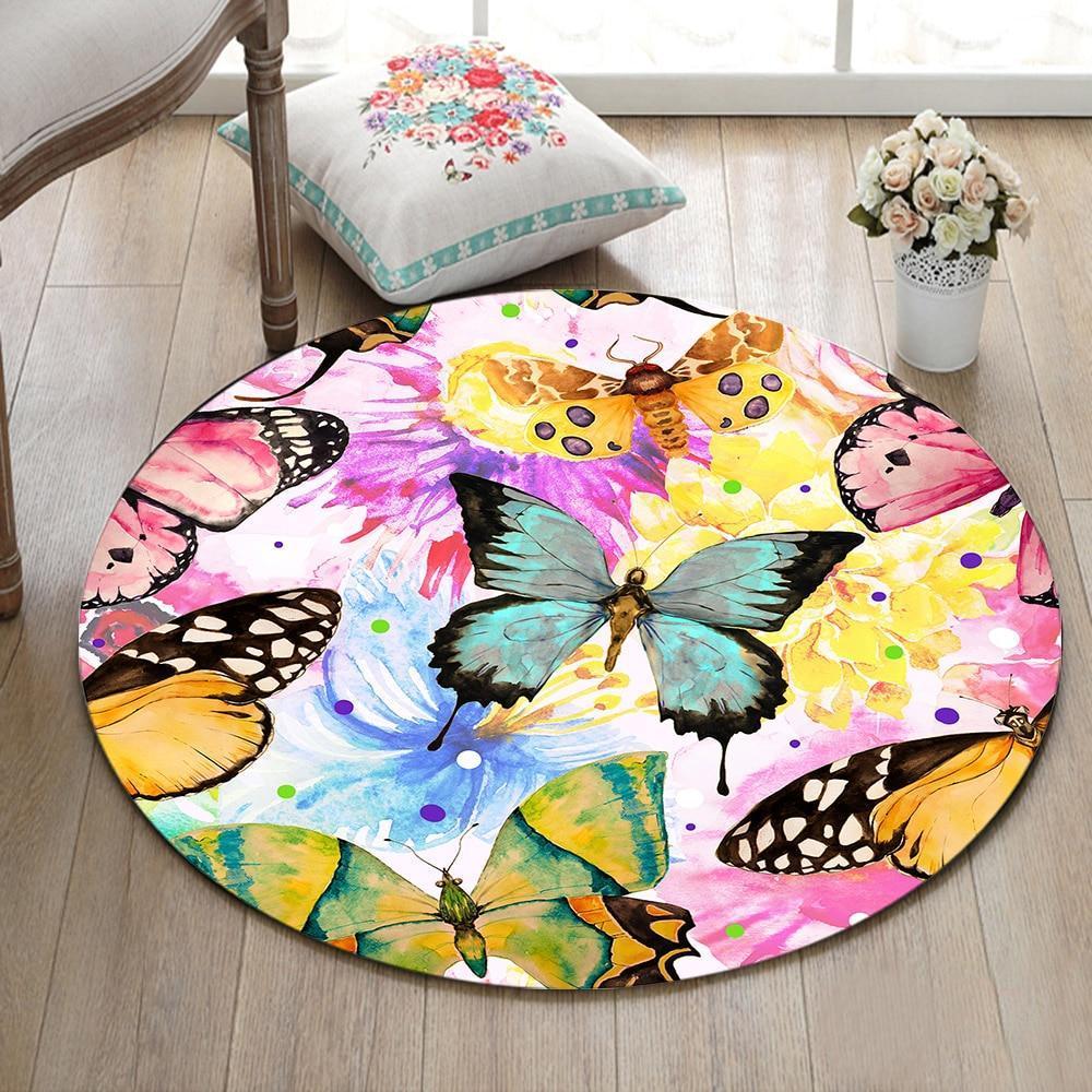 Runder Teppich <br> Schmetterling Mädchen