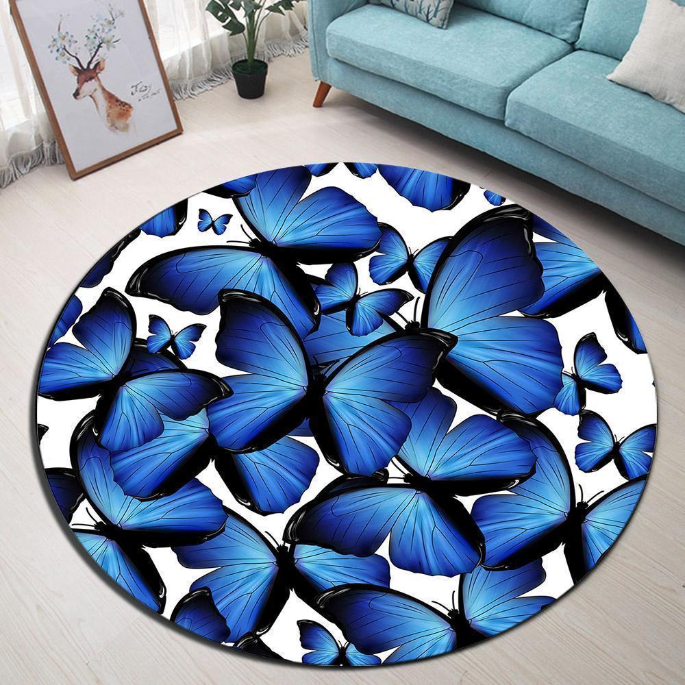 Runder Teppich  <br> Schmetterling