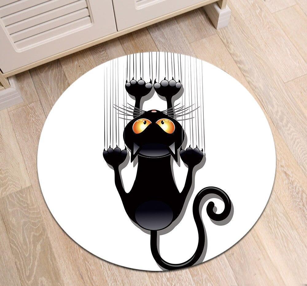 Runder Teppich <br> Schwarze Katze