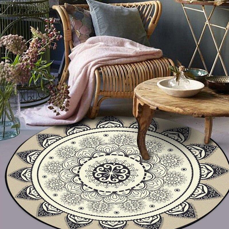 Runder Teppich <br> Schwarzes und Beiges Mandala