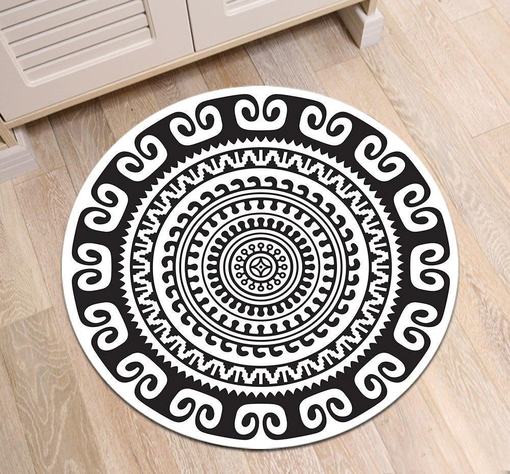 Runder Teppich <br> Schwarzes und Weißes Mandala