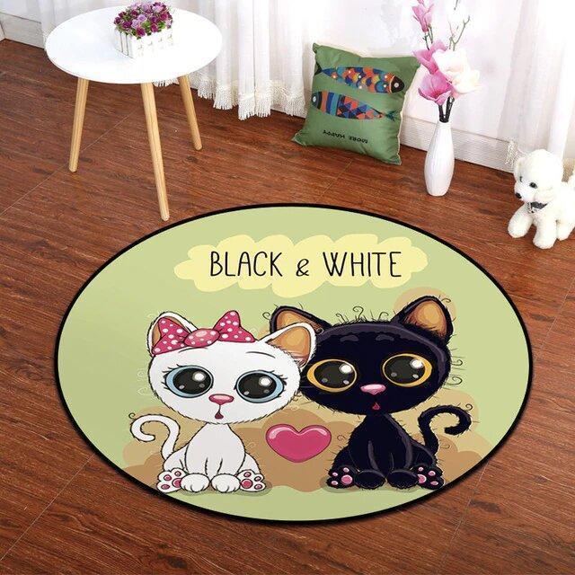 Runder Teppich <br> Schwarzweisse Katze
