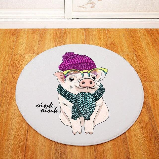 Runder Teppich <br> Schwein mit Brille