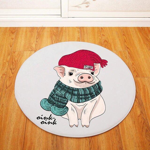 Runder Teppich <br> Schwein