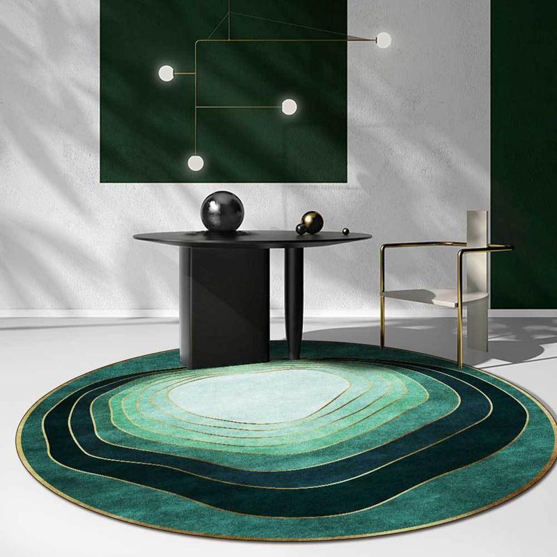 Runder Teppich <br> Smaragdgrün