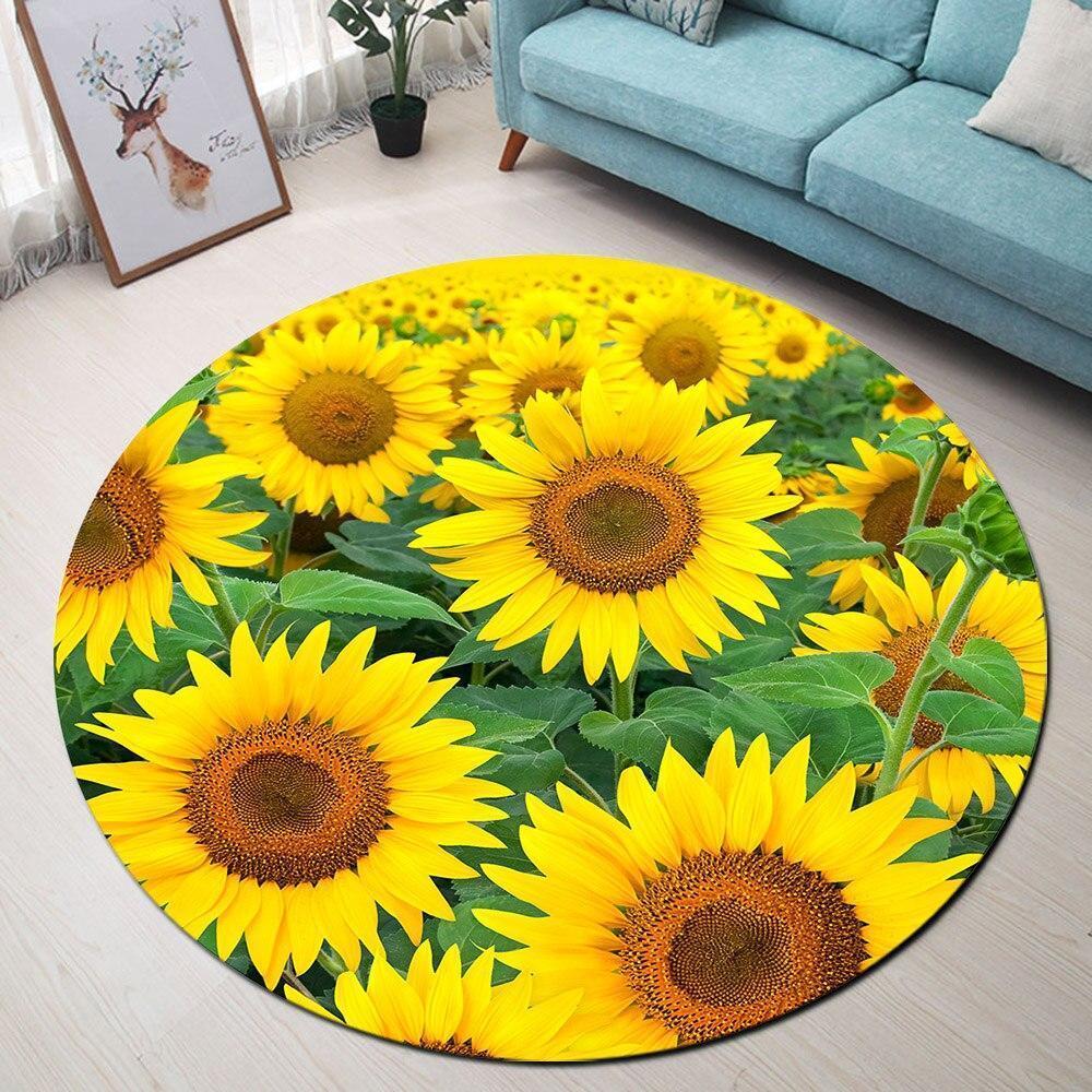 Runder Teppich <br> Sonnenblume