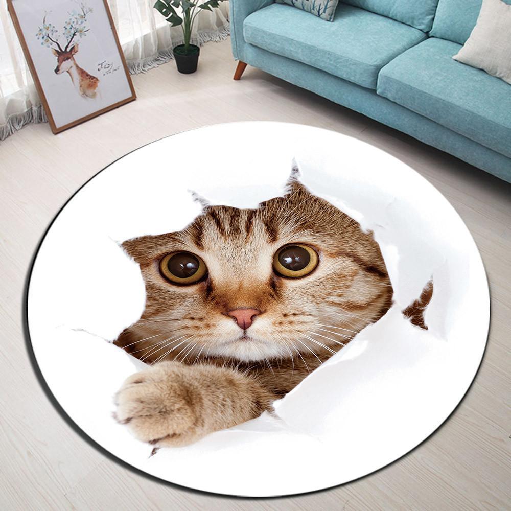 Runder Teppich <br> Süße Katze