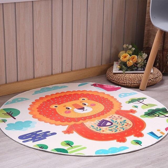 Runder Teppich <br> Tier Löwe