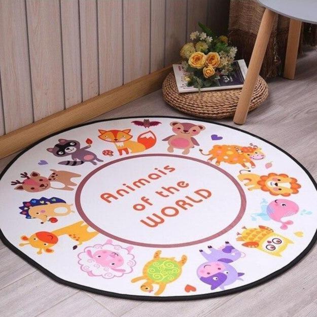 Runder Teppich <br> Tiere der Welt