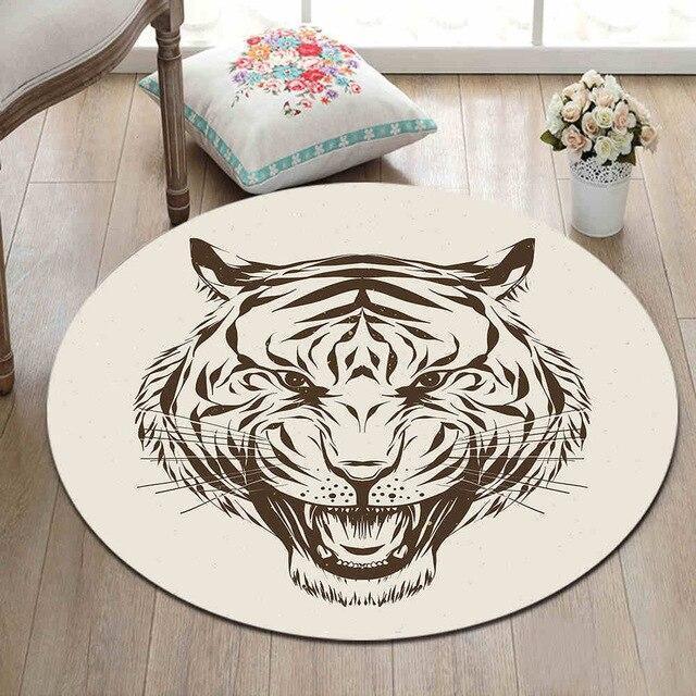 Runder Teppich <br> Tigerkopf