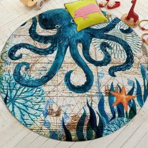 Runder Teppich  <br> Tintenfisch