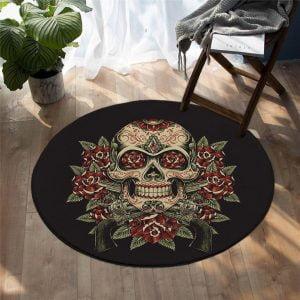 Runder Teppich <br> Totenkopf