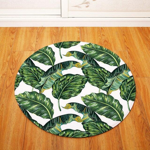 Runder Teppich <br> Tropische Blätter