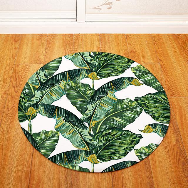 Runder Teppich <br> Tropische Blume