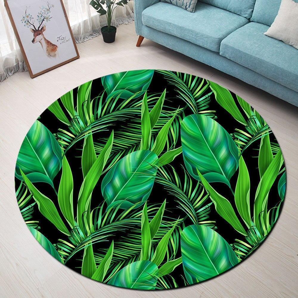 Runder Teppich <br> Tropische Grüne Blätter
