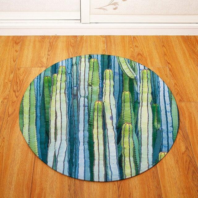 Runder Teppich <br> Tropischer Kaktus