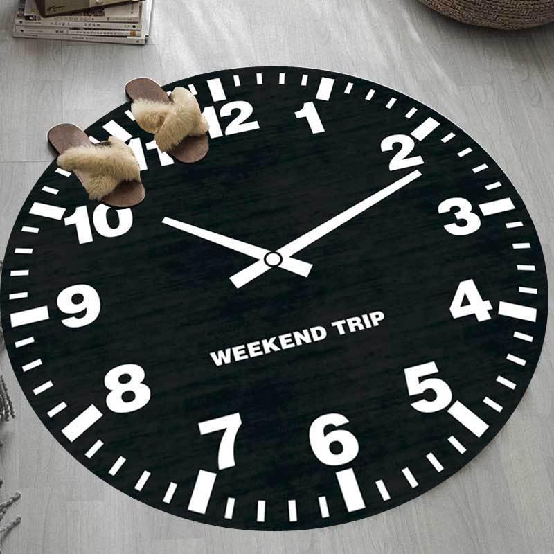Runder Teppich <br> Uhr Schwarz