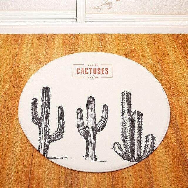 Runder Teppich <br> Vintage Kaktus