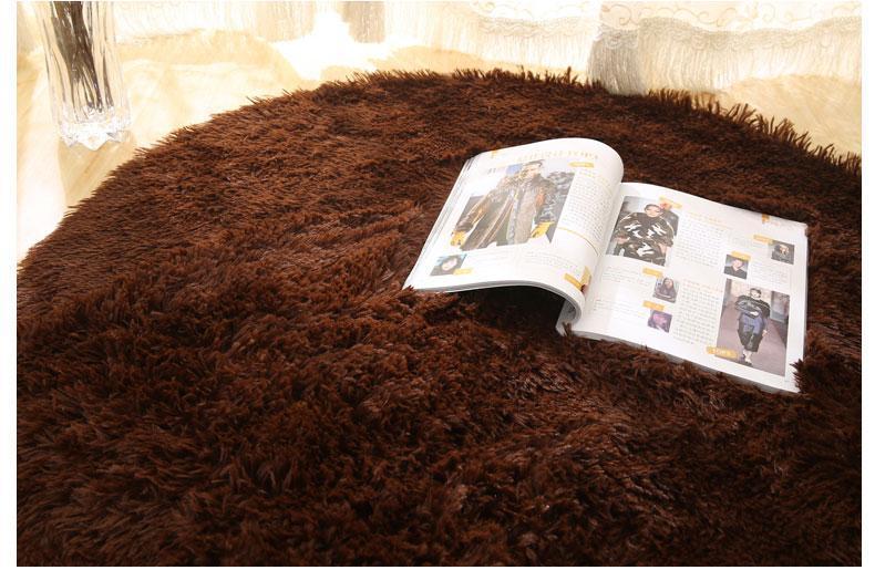 Runder Teppich <br> Weich Braun