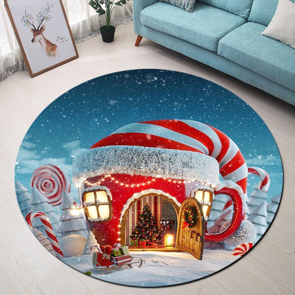 Runder Teppich <br> Weihnachtshaus