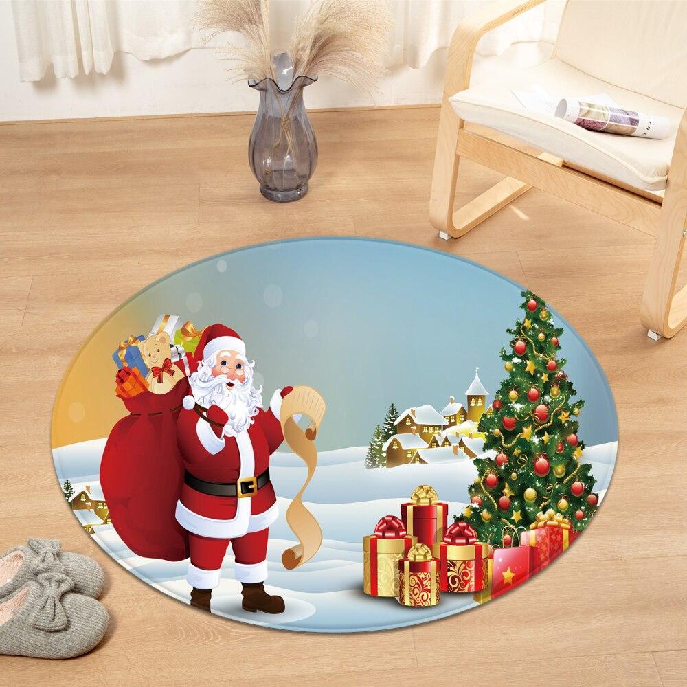 Runder Teppich <br> Weihnachtsmann Geschenke