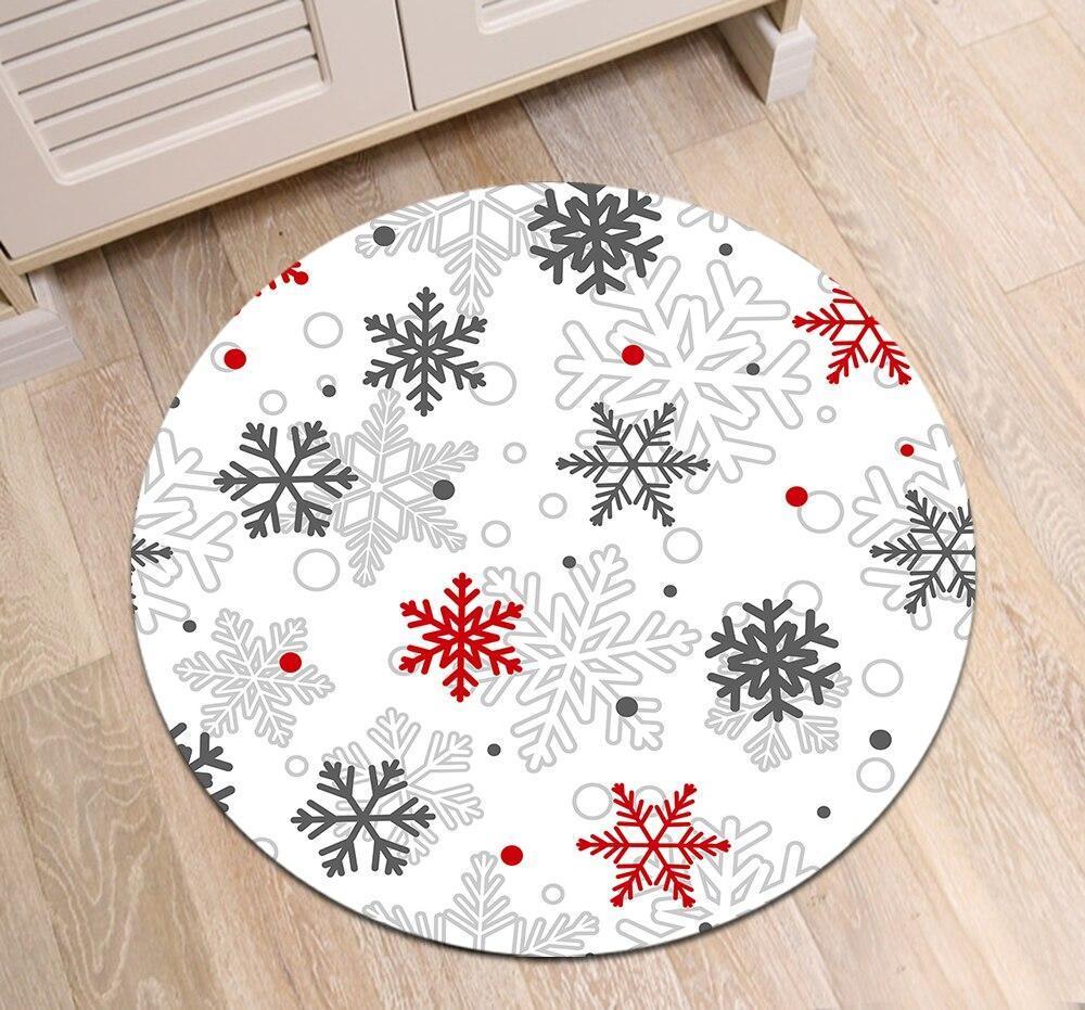 Runder Teppich <br> Weihnachtsschneeflocke