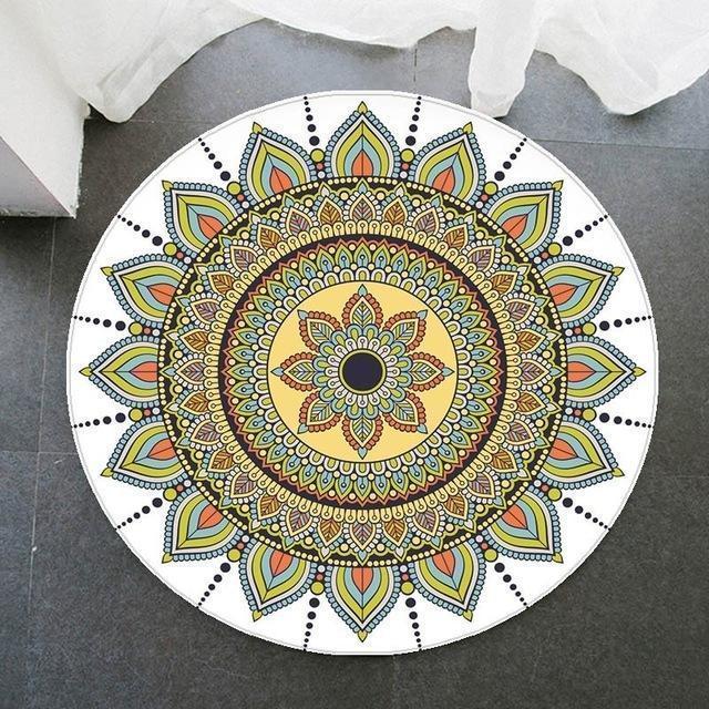 Runder Teppich  <br> Weiß Harmonie Mandala