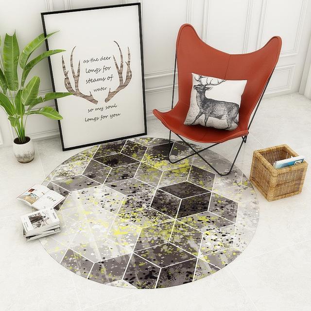 Runder Teppich <br> Weiß und Grau