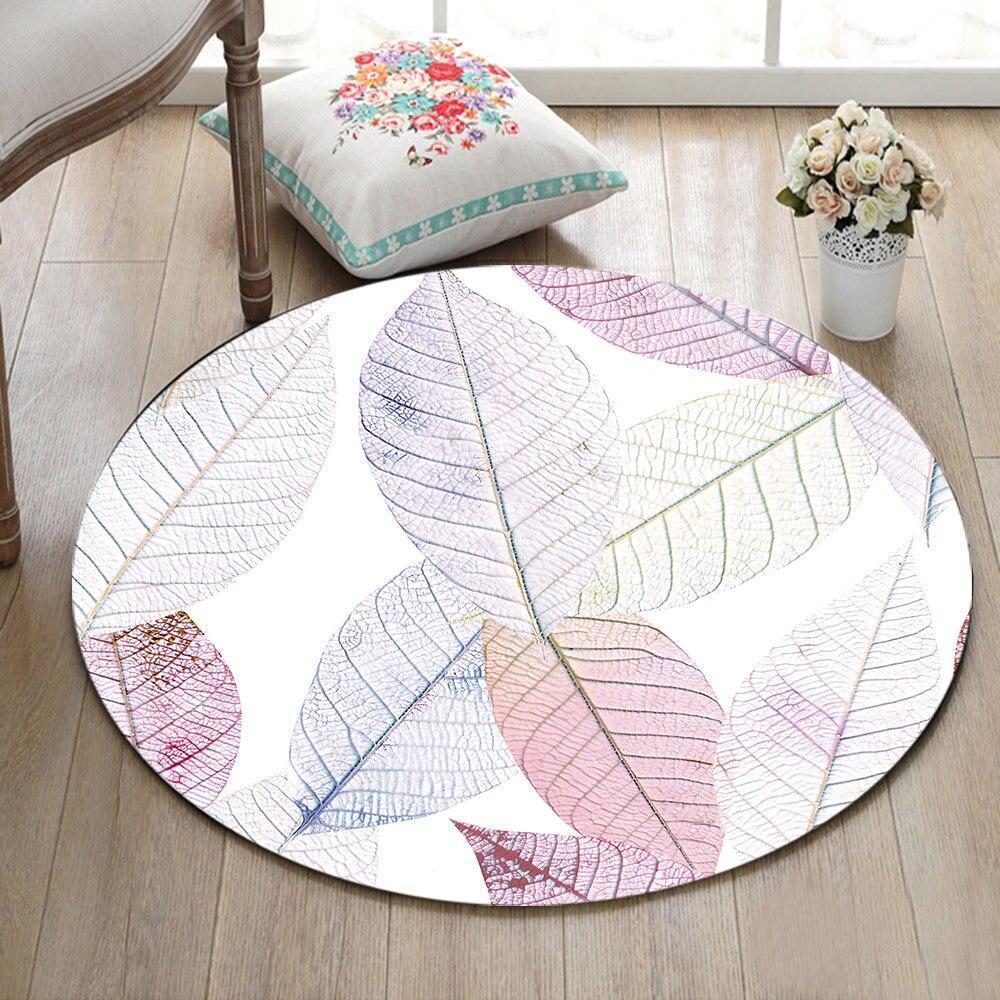 Runder Teppich <br> Weiße Blätter