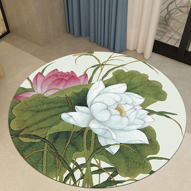 Runder Teppich <br> Weiße Blume