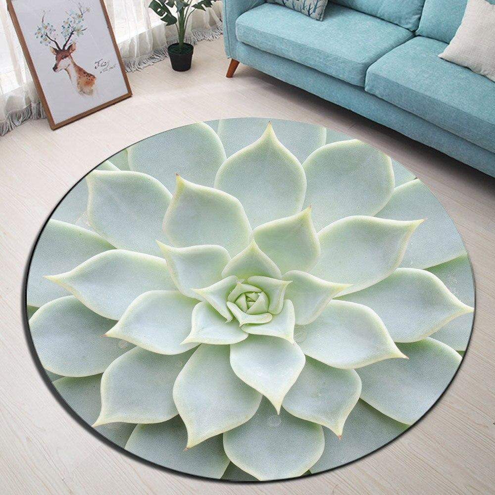 Runder Teppich <br> Weiße Lotusblume