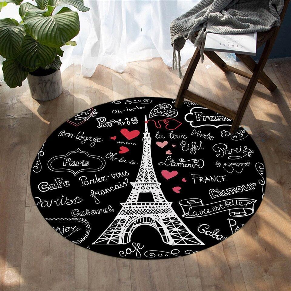Runder Teppich <br> Weißer Eiffelturm