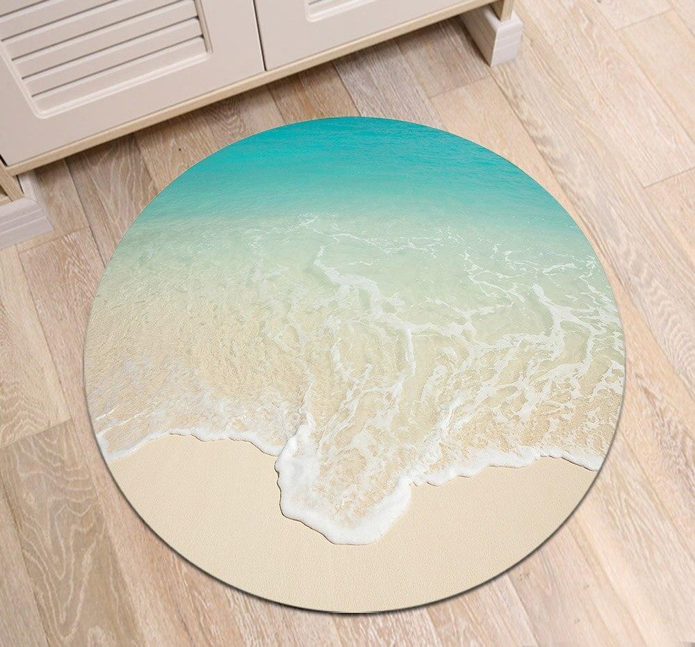 Runder Teppich <br> Weißer Sand
