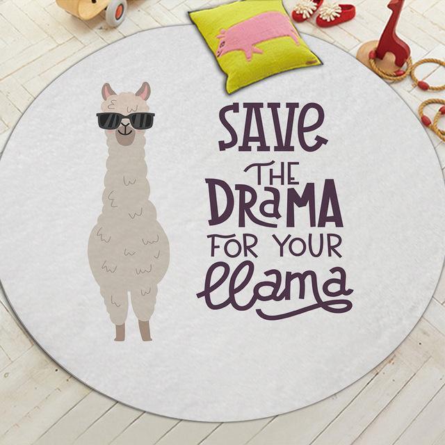Runder Teppich <br> Weißes Lama