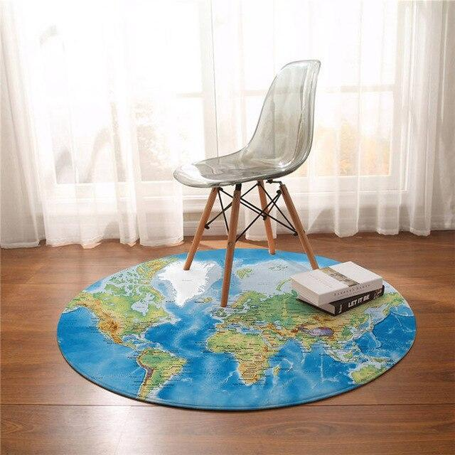 Runder Teppich <br> Weltkarte