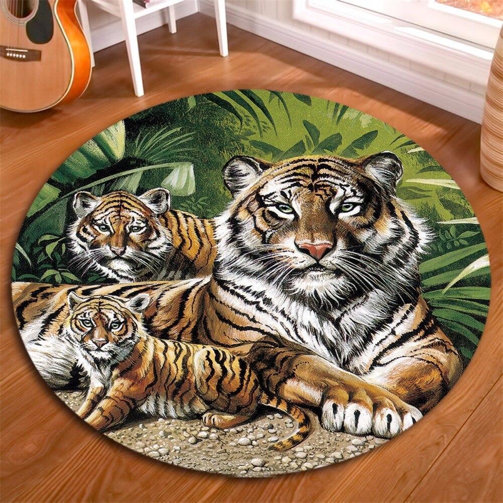 Runder Teppich <br> Wilde Tiere
