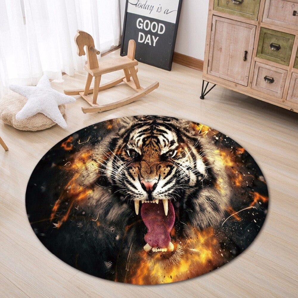 Runder Teppich <br> Wilder Tiger