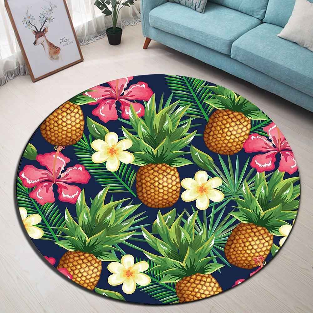 Runder Teppich <br> Wohnzimmer Ananas