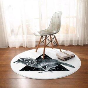Runder Teppich <br> Wolf und Mond