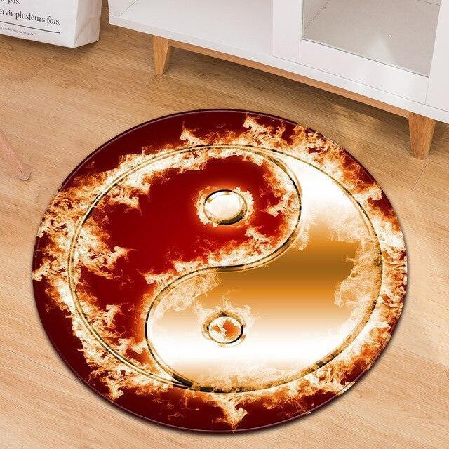 Runder Teppich <br> Yin Yang in Flammen