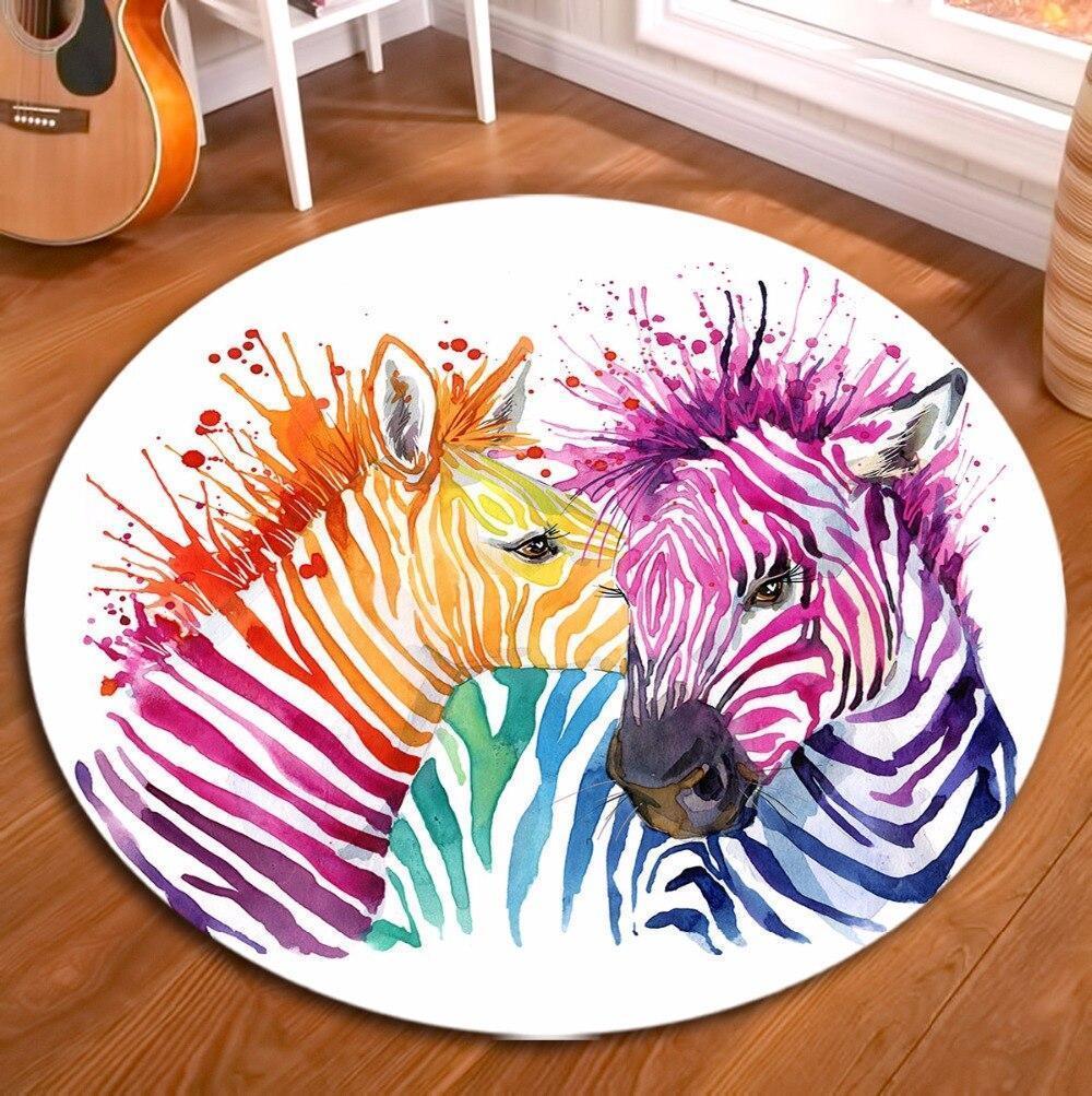 Runder Teppich  <br> Zebra Mehrfarbig