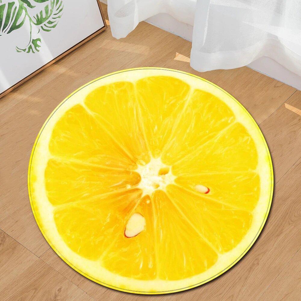 Runder Teppich <br> Zitrone